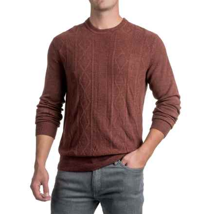 Jacquard Crew Neck Sweater - Long Sleeve (For Men) in Coffee - 2nds