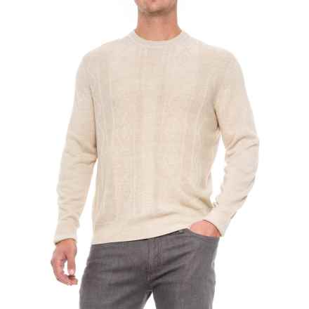 Jacquard Crew Neck Sweater - Long Sleeve (For Men) in Khaki - 2nds