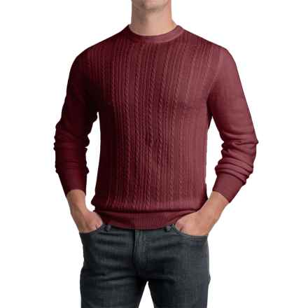 Jacquard Crew Neck Sweater - Long Sleeve (For Men) in Mulberry - 2nds