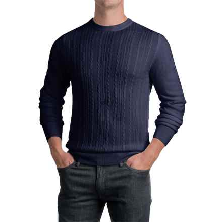 Jacquard Crew Neck Sweater - Long Sleeve (For Men) in Navy - 2nds