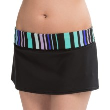 JAG Banded Skirted Bikini Bottoms (For Women) in Black/Island Green Stripe - Closeouts