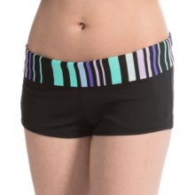 JAG Banded Swimsuit Bottoms - Boy Short (For Women) in Black/Island Green Stripe - Closeouts