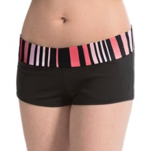 JAG Banded Swimsuit Bottoms - Boy Short (For Women) in Black/Multi Stripe - Closeouts
