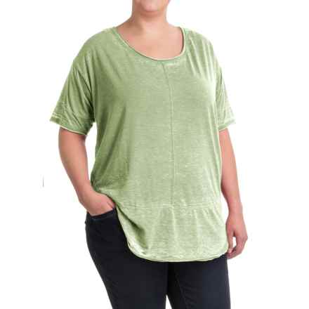 JAG Cafe Knit Shirt - Short Sleeve (For Plus Size Women) in Light Green - Closeouts