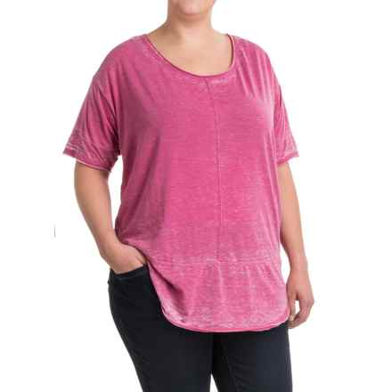 JAG Cafe Knit Shirt - Short Sleeve (For Plus Size Women) in Pink Geranium - Closeouts
