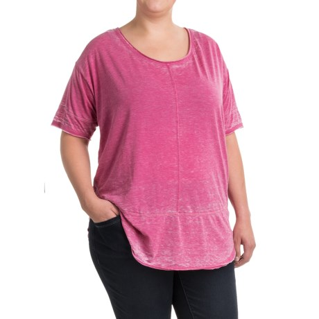 JAG Cafe Knit Shirt - Short Sleeve (For Plus Size Women) in Pink Geranium