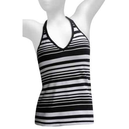 JAG Criss-Cross Tankini Top (For Women) in Black/White Stripe - Closeouts