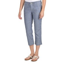 JAG Jo Jo Crop Pants - Chambray, Mid Rise, Classic Fit (For Women) in Mid Blue - Closeouts