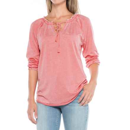 JAG Knit Peasant Top - Long Sleeve (For Women) in Coral Reef - Closeouts