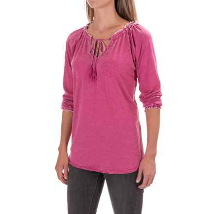 JAG Knit Peasant Top - Long Sleeve (For Women) in Pink Geranium - Closeouts