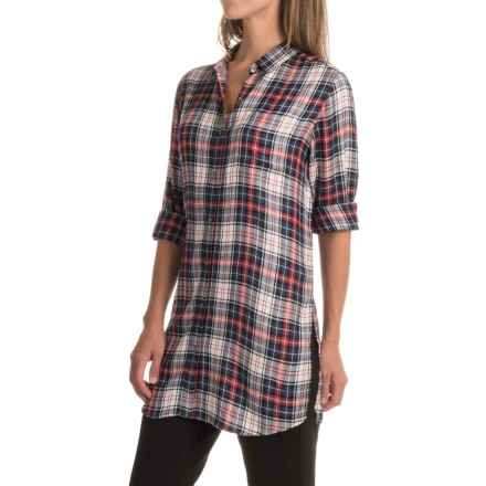 JAG Magnolia Tunic Shirt - Rayon, Long Sleeve (For Women) in Coral Plaid - Closeouts