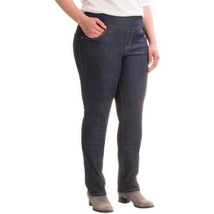 JAG Malia Slim-Leg Jeans - Pull On (For Plus Size Women) in Dark Shadow - Closeouts