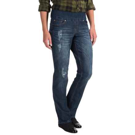 JAG Peri Pull-On Jeans - High Rise, Straight Leg (For Women) in Distressed Flatiron - Closeouts