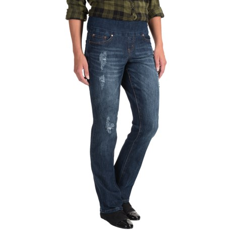 JAG Peri Pull-On Jeans - High Rise, Straight Leg (For Women) in Distressed Flatiron