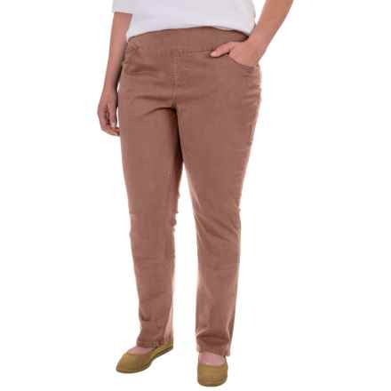 JAG Peri Straight Twill Pants (For Plus Size Women) in Birds Nest - Closeouts
