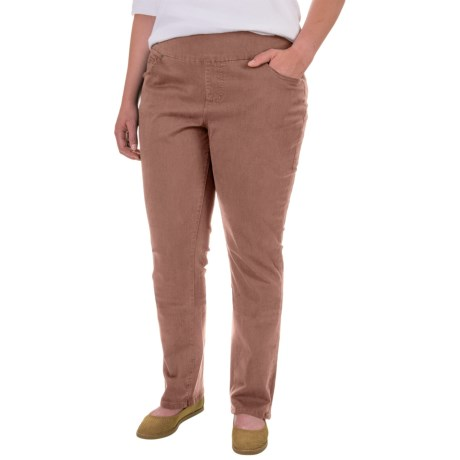 JAG Peri Straight Twill Pants (For Plus Size Women) in Birds Nest