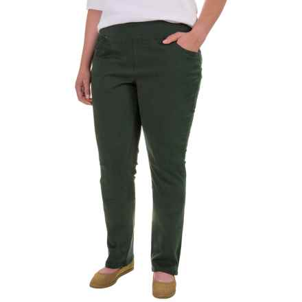 JAG Peri Straight Twill Pants (For Plus Size Women) in Green Spruce - Closeouts