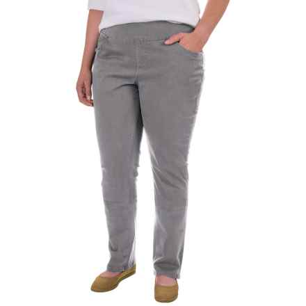 JAG Peri Straight Twill Pants (For Plus Size Women) in Grey Streak - Closeouts