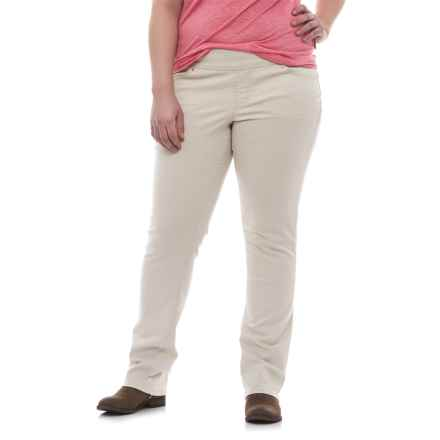 JAG Peri Straight Twill Pants (For Plus Size Women) in Stone - Closeouts