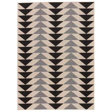 Jaipur McKenzie Triangle Pattern Indoor-Outdoor Area Rug - 5x7' in Jet Black/Birch