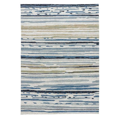 Jaipur Sketchy Lines Indoor-Outdoor Area Rug - 5x7' in Silver Green/Ensign Blue