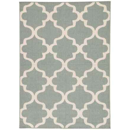 Jaipur Stamped Arabesque Tile Indoor-Outdoor Area Rug - 5x7' in Blue Surf/Birch - Closeouts