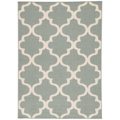 Jaipur Stamped Arabesque Tile Indoor-Outdoor Area Rug - 5x7' in Blue Surf/Birch