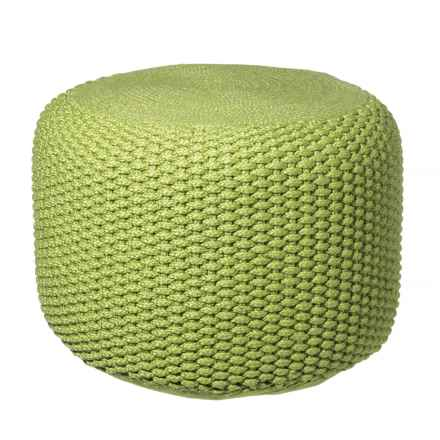 """Jaipur Textured Rustic Pouf - 20x14"""" in Spinach Green/Spinach Green - Closeouts"""