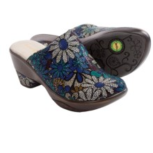Jambu Dali Open-Back Clogs - Leather (For Women) in Blue Floral - Closeouts