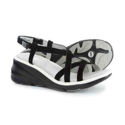 Jambu Ginger Wedge Sandals - Suede (For Women) in Black - Closeouts