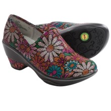 Jambu Miro Clogs - Leather, Wedge Heel (For Women) in Berry Floral - Closeouts
