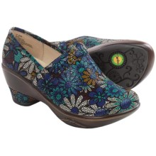 Jambu Miro Clogs - Leather, Wedge Heel (For Women) in Blue Floral - Closeouts
