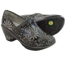 Jambu Miro Clogs - Leather, Wedge Heel (For Women) in Grey Floral - Closeouts