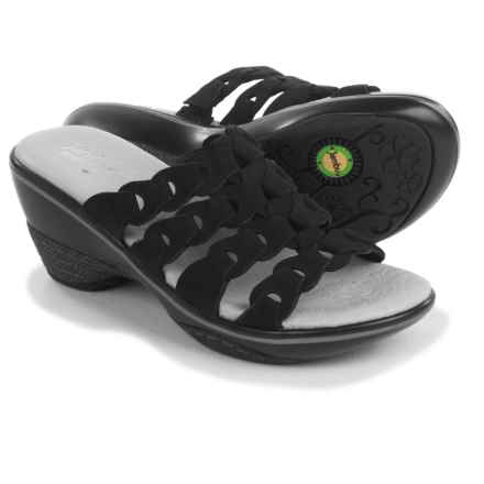 Jambu Romance Wedge Sandals - Leather (For Women) in Black - Closeouts