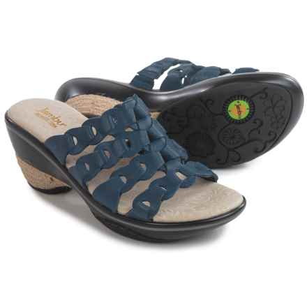 Jambu Romance Wedge Sandals - Leather (For Women) in Navy - Closeouts