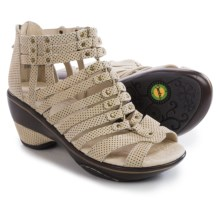 Jambu Sugar Wedge Sandals - Nubuck (For Women) in Beige/Black Polka Dot - Closeouts