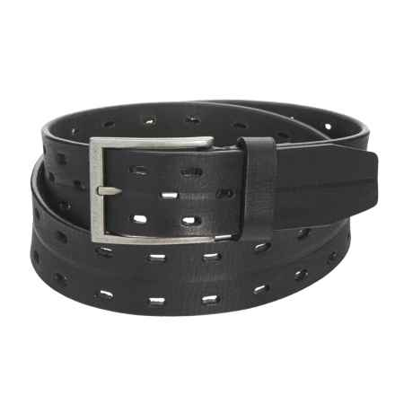 "James Campbell 2-Hole Perforated Belt - Leather, 1-1/2"" (For Men) in Black - Closeouts"