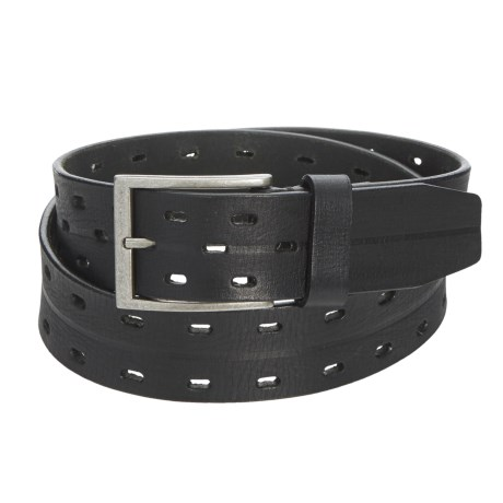 """James Campbell 2-Hole Perforated Belt - Leather, 1-1/2"""" (For Men) in Black"""