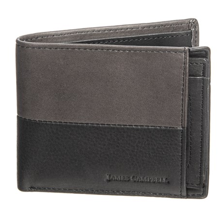 James Campbell Bifold Wallet with Removable Passcase - Two-Tone Leather (For Men) in Black