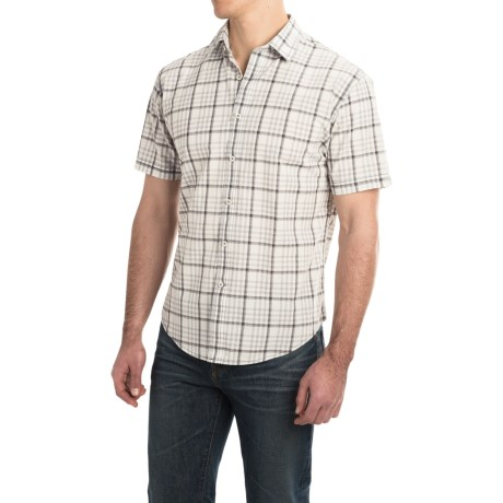 James Campbell Mens Bruno Cotton Short Sleeve Plaid Shirt