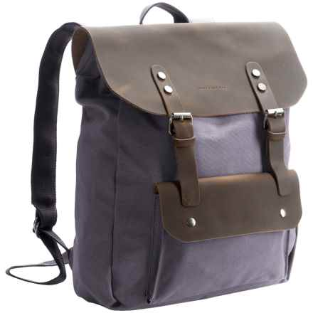 James Campbell Canvas and Leather Backpack in Slate - Closeouts