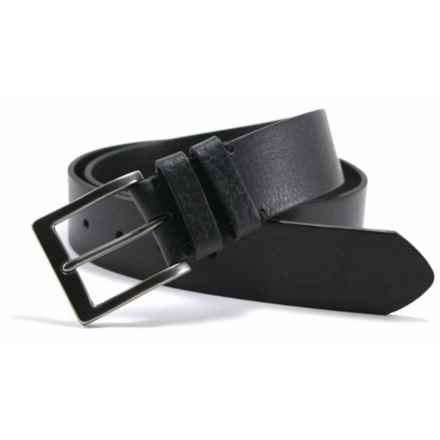James Campbell Double Loop Belt - Tumbled Leather (For Men) in Black - Closeouts