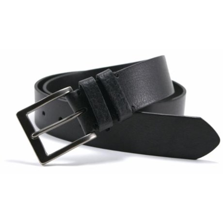 James Campbell Double Loop Belt - Tumbled Leather (For Men) in Black