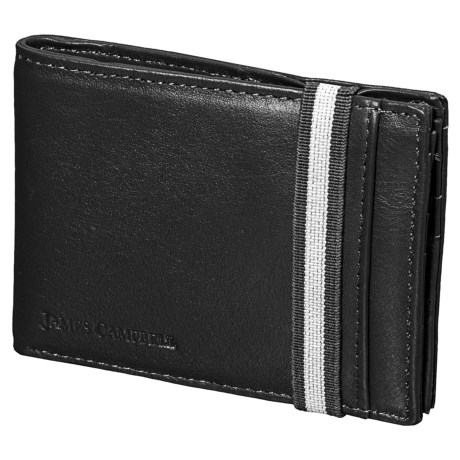 James Campbell Leather Slim Bifold Wallet (For Men) in Black