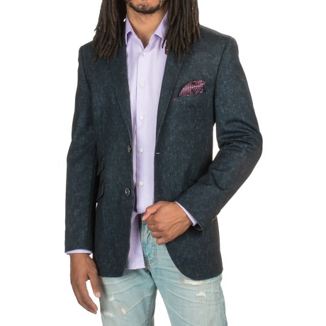 James Campbell Raw-Edge Knit Sport Coat (For Men) in Navy