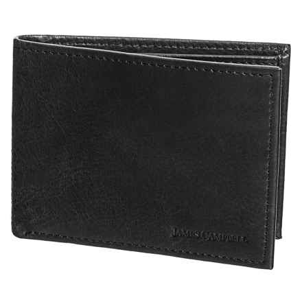 James Campbell Slim Bifold Wallet - Leather (For Men) in Black - Closeouts