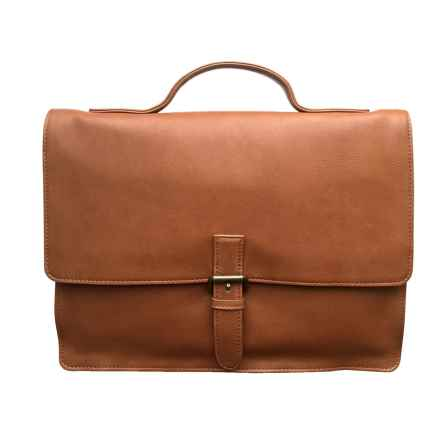 James Campbell Slim Leather Briefcase in Tan - Closeouts