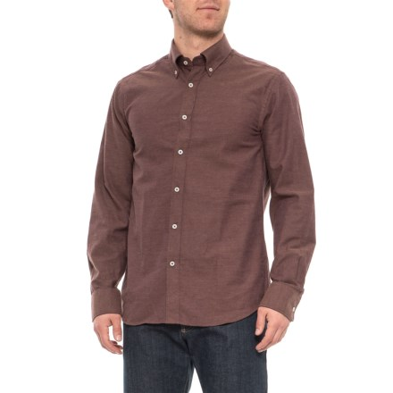 59cf4453339a James Tattersall Lux Brushed Shirt - Long Sleeve (For Men) in Maroon -  Overstock