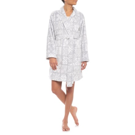 JAMMIES Grey Bias Snowflakes Microlight Plush Robe - Long Sleeve (For Women)  in Grey 8848b810f
