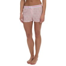 Jane and Bleecker Contrast-Print Woven Lounge Shorts - Button Front (For Women) in Dusty Rose - Overstock